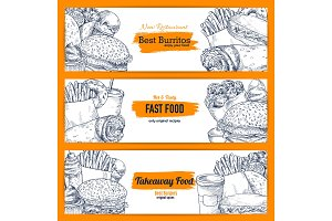 Vector fast food snacks banners