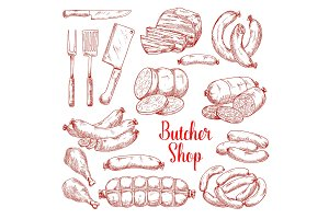 Vector sketch icons of butchery meat