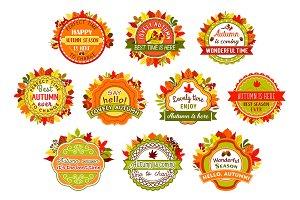 Autumn label and badge set