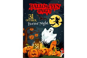Halloween ghost poster for party