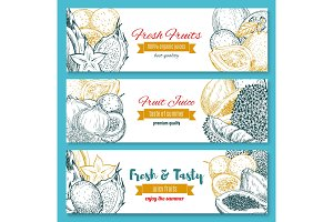 Vector banners of exotic fruits