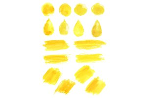 Watercolor yellow blob stains
