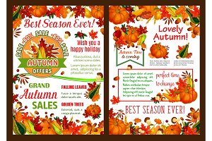 Autumn pumpkin, fruit harvest poster