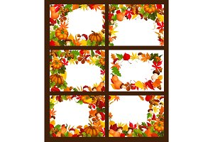 Autumn time and harvest frames