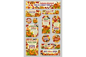 Autumn sale shop or farm market tags