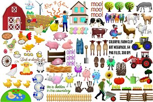 Colorful Farm Clip Art Megapack