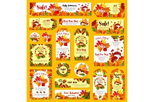 Autumn sale shop discount poster tag
