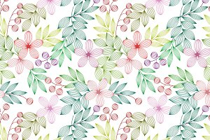 Flowers and leaves seamless pattern