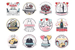 Wedding ceremony icons