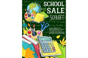 Education, school sale banner