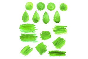 Green watercolor blob stains
