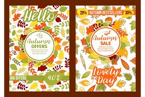 Autumn posters of fall leaf foliage