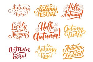 Hello Autumn lettering for fall