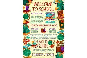 Back to School vector study poster
