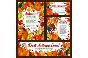 Autumn foliage, pumpkin, maple leaf