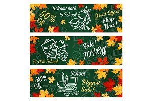 School supplies banner with offer