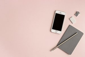 Pink Desk Flat Lay