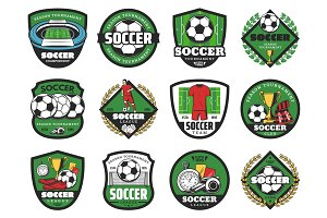Football sport and soccer ball icons