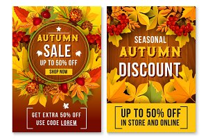 Autumn sale online vector poster