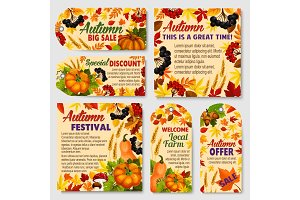 Autumn season tags and promotion
