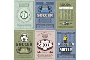 Soccer and football retro posters
