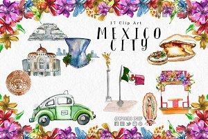 Mexico City watercolor clipa rt