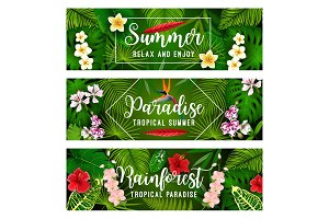 Tropical summer banner of palms