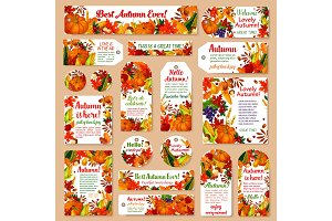 Autumn leaf tag and fall harvest set