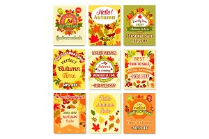 Hello autumn and fall sale posters