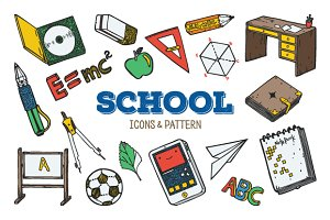 School icons & pattern