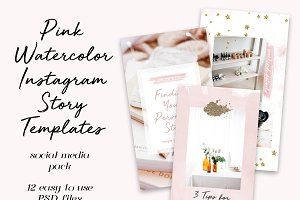 12 Pink Instagram Story Templates