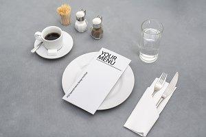 PSD layered diner menu mockup