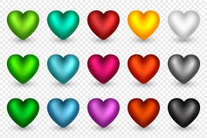 Set of 3d hearts in different colors