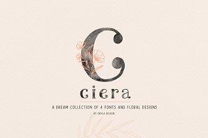 Ciera watercolor svg font & florals