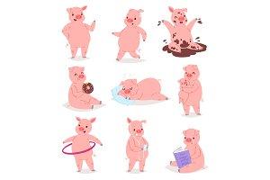 Cartoon pig vector piglet or piggy