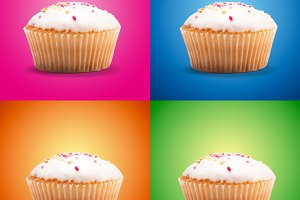 Cupcakes on colour background
