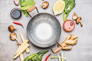 Wok pan and asian ingredients