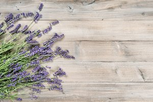Lavender flowers rustic wooden backg