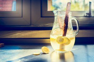 Jug or pitcher of fresh lemonade