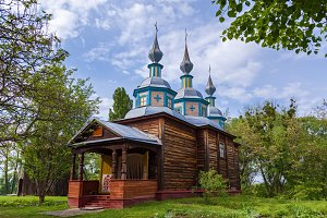 Old wooden Ukrainian Orthodox church