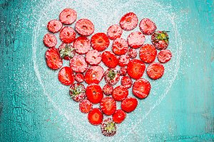 Heart shape sliced Strawberries