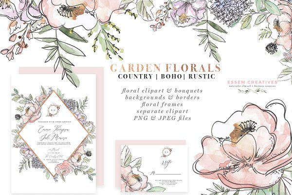 Garden Watercolor Flowers Clipart
