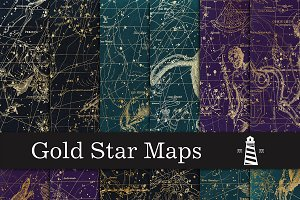 Gold Star Map Backgrounds