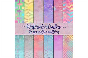Watercolor Ombre & Geometric Pattern