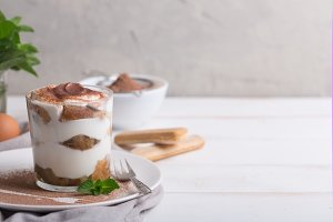 Tiramisu in a glass cup