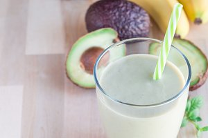 Healthy smoothie with avocado, banan