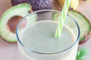 Smoothie with avocado, banana, milk