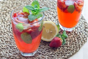 Homemade iced tea with strawberries