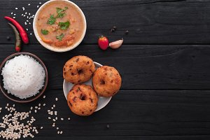 Indian set with spicy lentil donuts