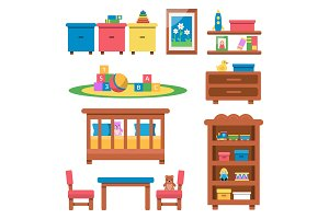 Vector flat illustrations of toys